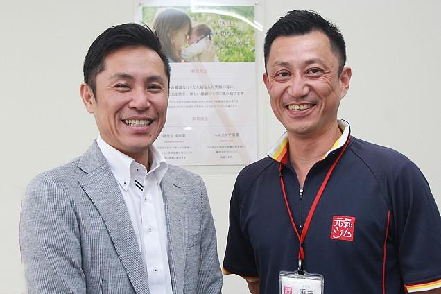 株式会社ミクセルの代表・島オーナー(左)と元氣ジム事業の事業責任者を務める酒井氏(右)